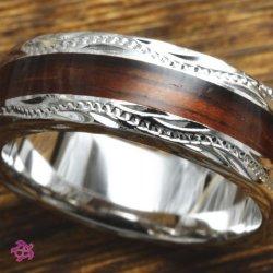 画像1: ハワイアンコアウッド幅6mmシルバー925リング・指輪