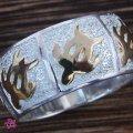 【在庫限り】手彫りシルバー&ゴールドツートン海がめリング