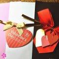 3ハート付きリボンバレンタインデープレゼント用ラッピングサービス(赤、ピンク、白、茶)